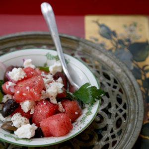 Watermelon with Feta and Olives