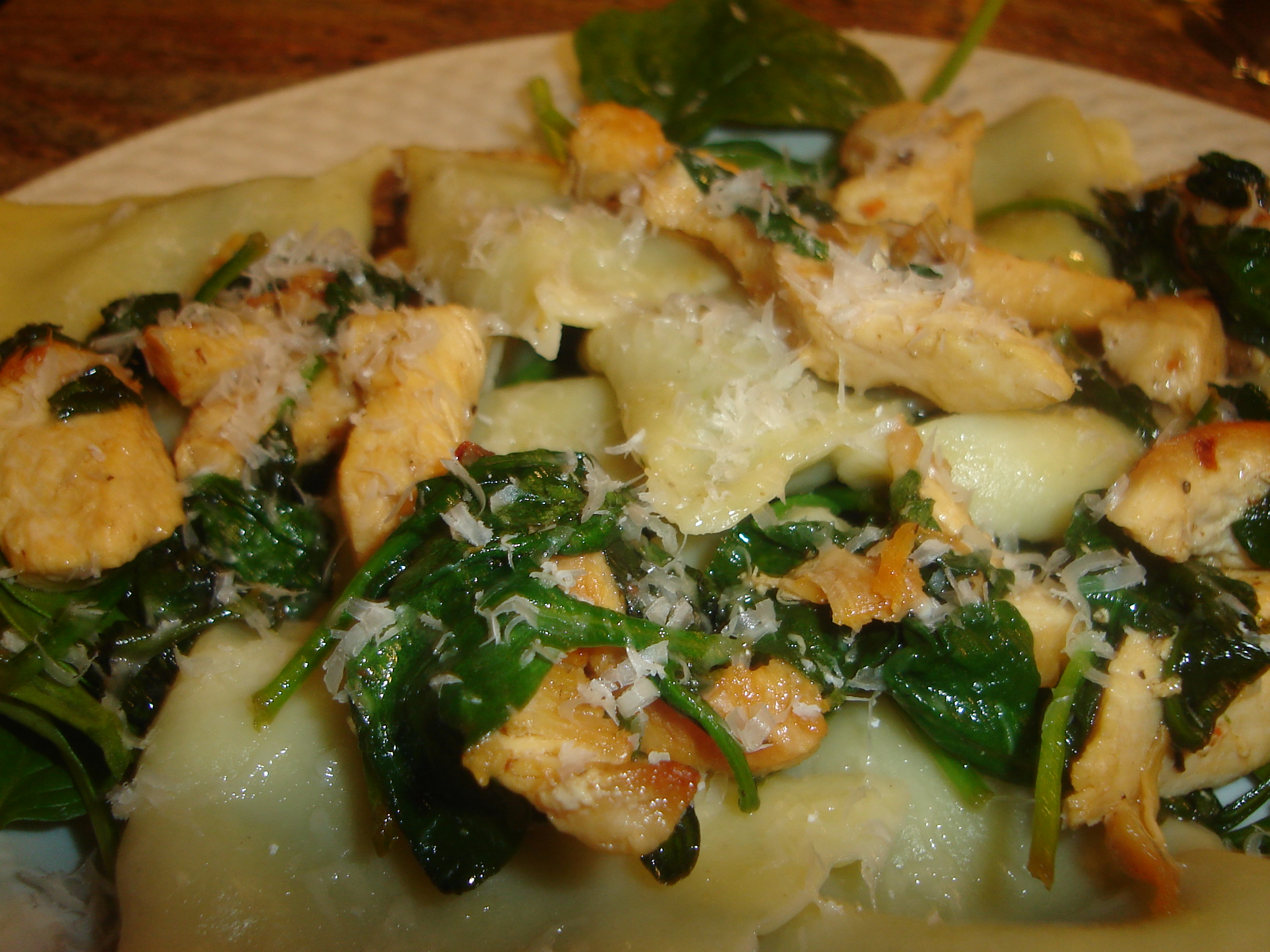 Sauteed Chicken with Ravioli